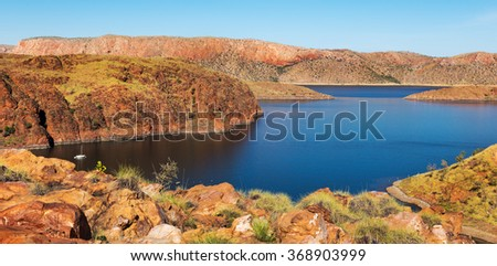 Lake Argyle is Western Australia's largest and Australia's second largest freshwater man-made reservoir by volume and is part of the Ord River Irrigation Scheme. East Kimberley town of Kununurra  - stock photo