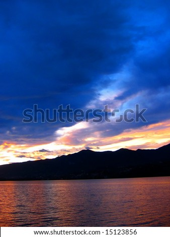 Lake at sunset - stock photo