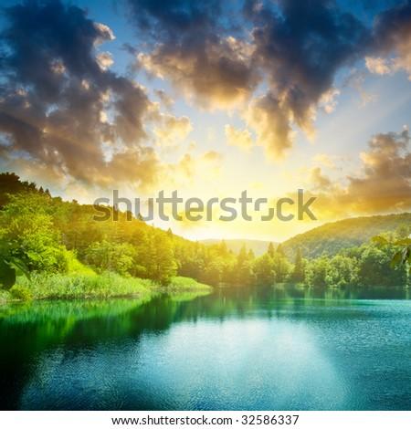 Lake at Sunset - stock photo