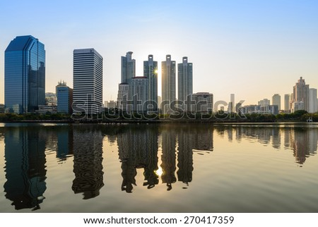 Lake at the Benchakitti Park in Bangkok on 14 April 2015. Benjakiti Park is a park in honor of Her Majesty Queen Sirikit, is located in the factory area. - stock photo
