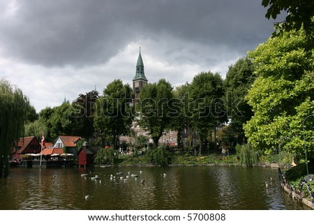 lake at tivoli - stock photo