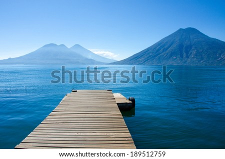Lake Atitlan in Gautemala - View of San Marcos - stock photo
