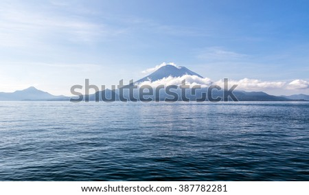 Lake Atlitlan, Guatemala, 29 October 2015. View of the Lake Atitlan with volcanoes in the background  - stock photo