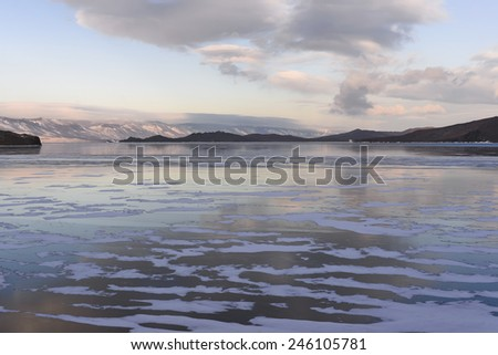 Lake Baikal. Sunset in winter.