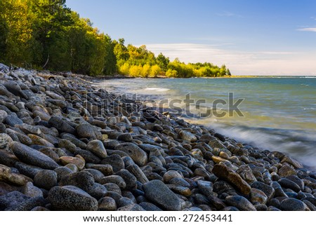 Lake Baikal, the largest (by volume) freshwater lake in the world, containing roughly 20% of the world's unfrozen surface fresh water. - stock photo
