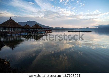Lake Batur, a volcano crater lake in the morning, Bali island.