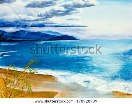 Lake before the storm. Oil painting. - stock photo