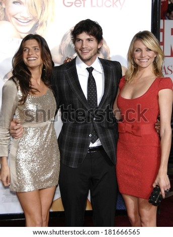 Lake Bell, in Stella McCartney, Ashton Kutcher, in Gucci, Cameron Diaz, in Zac Posen, at Premiere of WHAT HAPPENS IN VEGAS, Mann's Village Theatre in Westwood, Los Angeles, May 01, 2008 - stock photo