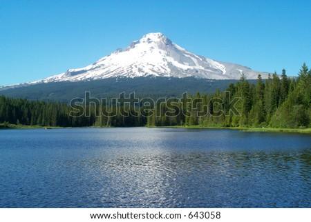 Lake below Mt Hood Oregon - stock photo