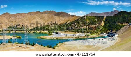 Lake Benmore hydroelectric dam, New Zealand - stock photo