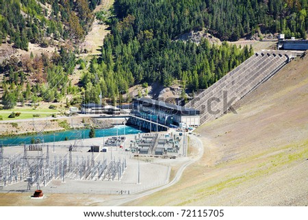 Lake Benmore hydroelectric dam, South Island New Zealand - stock photo