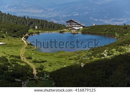 Lake Bezbog and Bezbog hut, Pirin Mountain, Bulgaria - stock photo