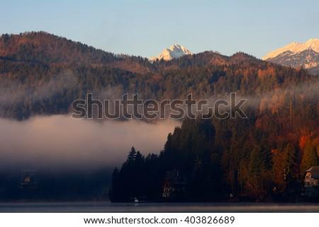 Lake Bled and the Triglav, Bled, Slovenia - stock photo