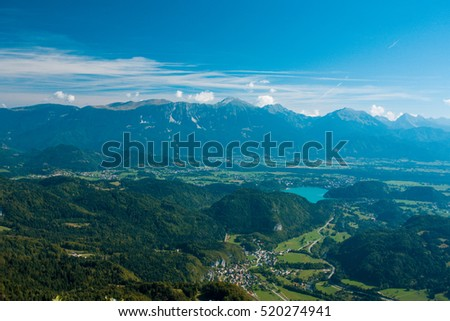 lake bled from the aerial view with mountains