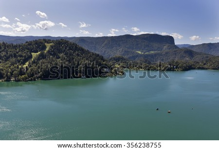 Lake Bled in Slovenia, aerial view
