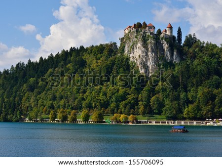 Lake Bled with the Castle Bled - stock photo