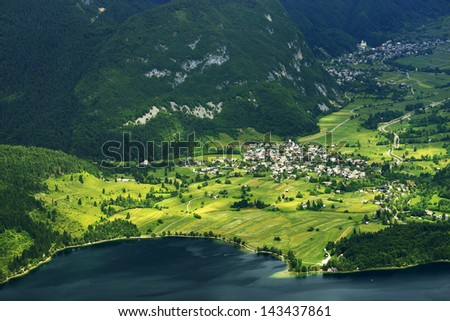 Lake Bohinj from Vogel cable car top station, Slovenia - stock photo