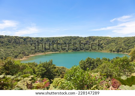 Lake Botos in inactive crater within Poas Volcano National Park, Costa Rica - stock photo