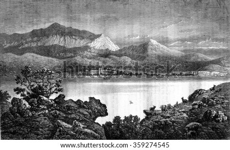 Lake Bourget, vintage engraved illustration. Magasin Pittoresque 1880.