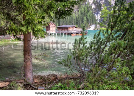 Lake Braies in Dolomites with mount Seekofel in the background, Italy