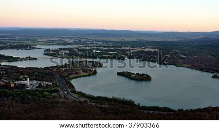 Lake Burley Griffin in the evening, Canberra, Austraila - stock photo