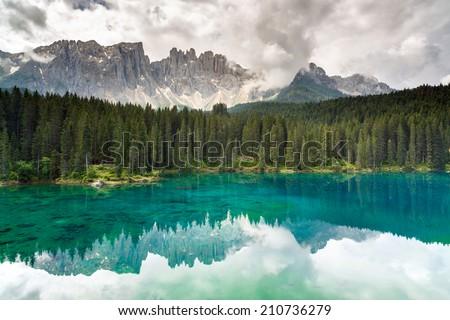 Lake Carezza, Dolomites, Italy - stock photo