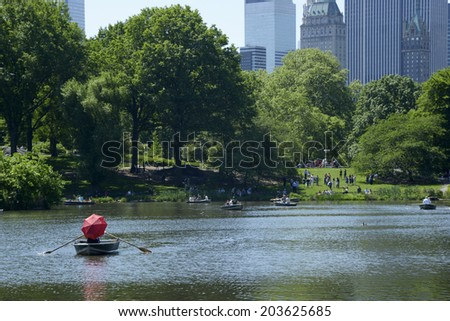 lake central park in New York City 25.05.2014 lake central park in New York City - stock photo