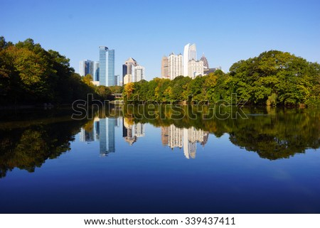 Lake Clara Meer, Piedmont Park, Atlanta, GA - stock photo