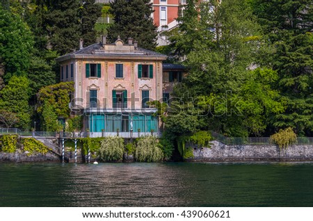 Lake Como historic villas along the waters edge are beautiful in their surroundings