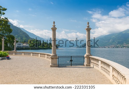 Lake Como seen from the romantic terrace of Villa Melzi in late summer, Lake Como, Northern Italy, Europe - stock photo