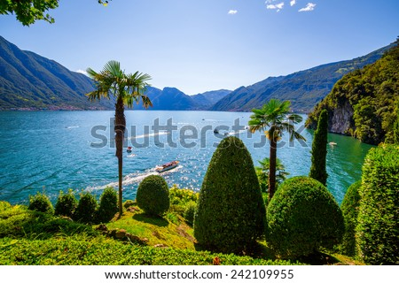 Lake Como. Summer time. European vacation, living life style, architecture and travel concept.