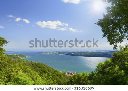 Lake Constance Bodensee with blue sky in background