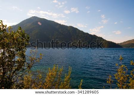Lake Crescent in the Olympic Peninsula, WA state - stock photo