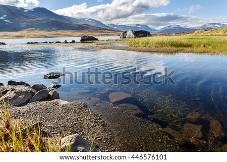 Lake Cunojavri in Norway - stock photo