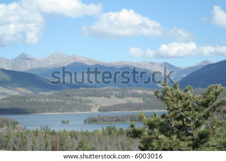 Lake dillon with island and pine trees