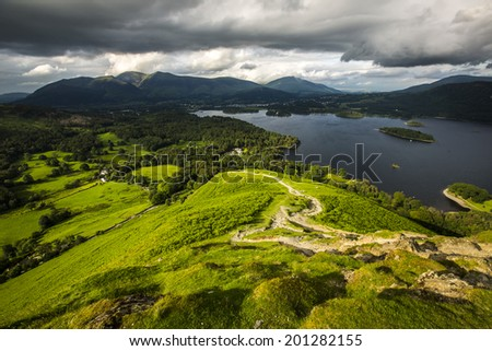 Lake District landscape from Catbells on a summer afternoon. - stock photo