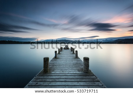 Lake District, Low Wood jetty near Ambleside at dusk
