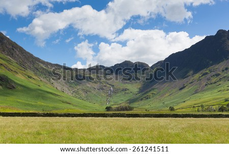 Lake District mountain view from Buttermere of Haystacks and Fleetwood Pike  - stock photo