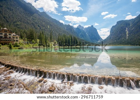 Lake dobbiaco, in Dolomites mountain, Italy, Sudtirol