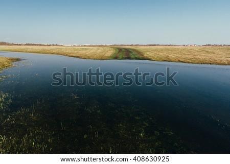 Lake during flood - stock photo