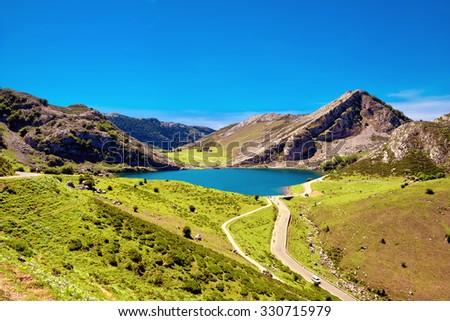 Lake Enol. Cantabrian. Covadonga. Asturias. Spain. - stock photo