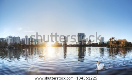 Lake Eola in Orlando with Swans. - stock photo
