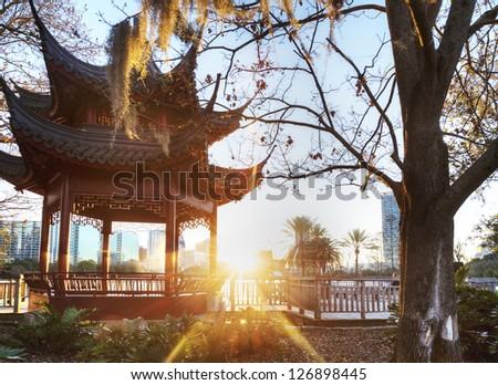 Lake Eola Park in Orlando, Florida. - stock photo