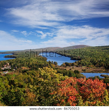 Lake Fanny Hooe And Copper Harbor Seen From The Brockway Mountain Overlook, Michigan, Upper Peninsula, Lake Superior, USA - stock photo