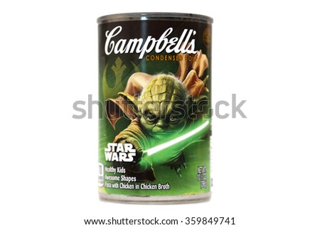 Lake Forest CA. January 8, 2016: Campbell's Soup with Limited Collector addition STAR WARS labels featuring Darth Vader, R2D2, Yoda, Storm Troopers on the labels. January 8, 2016 - stock photo