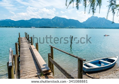 Lake Forggensee in Allgaeu, Fuessen - Germany - stock photo