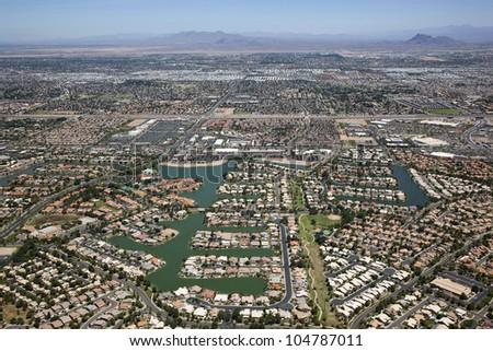 Lake front planned community in the Arizona Desert - stock photo