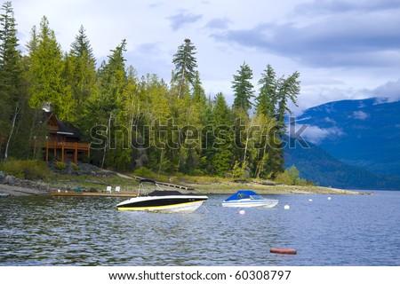 Lake Front Property at Shuswap Lake, British Columbia, Canada - stock photo