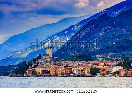Lake Garda (Lago di Garda), Malcesine, Italy - sunset - stock photo