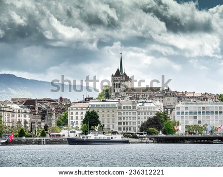 Lake Geneva Embankment on a clear day - stock photo